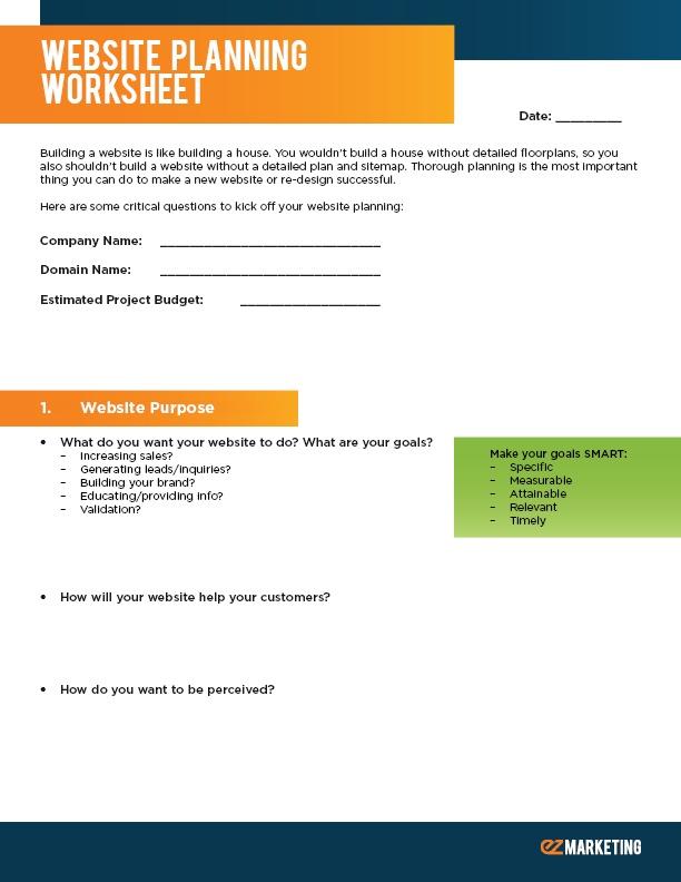 Website Planning Worksheet Cover