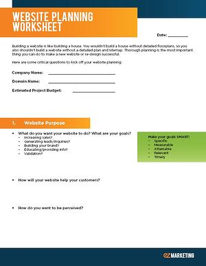Website Planning Worksheet Cover