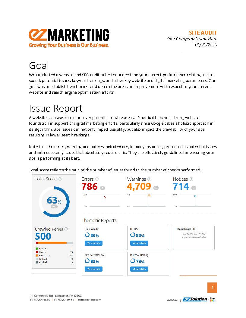 Sample SEO site audit